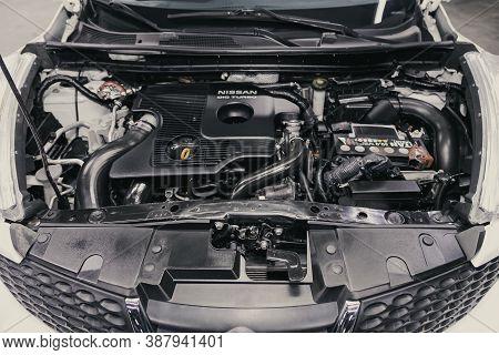 Novosibirsk, Russia - August 23, 2020: Nissan Juke, Close Up Of A Clean Motor Block. Internal Combus
