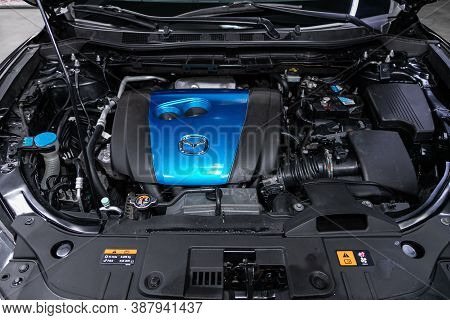 Novosibirsk, Russia - August 07, 2020: Mazda Cx-5, Close Up Of A Clean Motor Block. Internal Combust