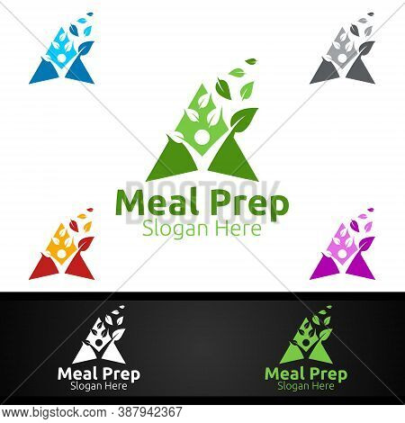 Eco Meal Prep Healthy Food Logo For Restaurant, Cafe Or Online Catering Delivery