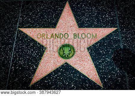 Hollywood, California - October 09 2019: Celebrity Actor Orlando Bloom Walk Of Fame Star On Hollywoo