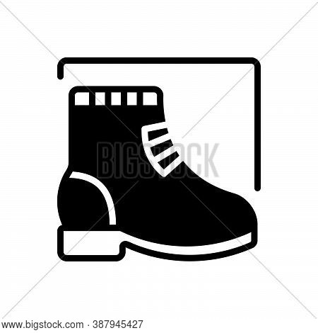 Black Solid Icon For Boot Footwear Footgear Shoes Brogue Waterproof Safety Protection Fashion