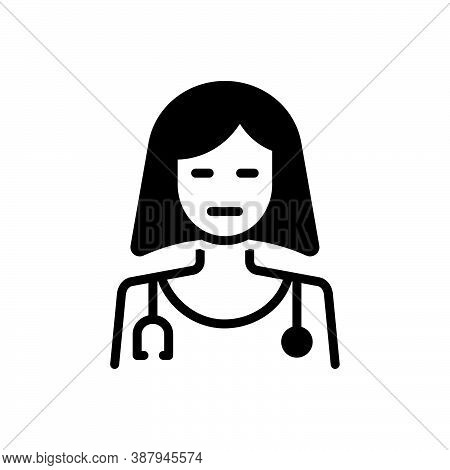 Black Solid Icon For Profession Business Doctor Nurse Take-care Stethoscope Medical Vocation Career