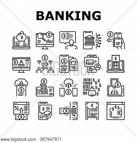 Online Banking Finance Collection Icons Set Vector. Online Banking Payment And Bank Account, Electro