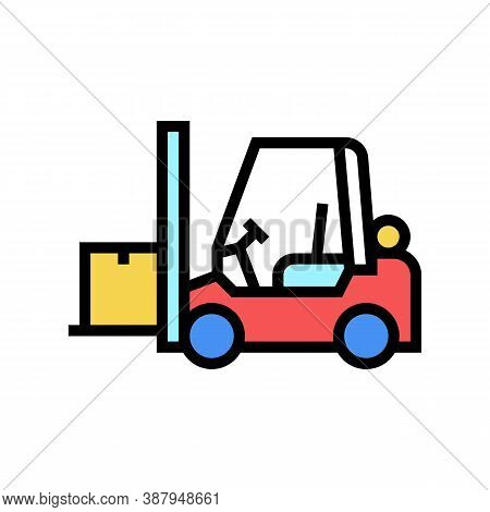 Loader Cart Color Icon Vector. Loader Cart Sign. Isolated Symbol Illustration