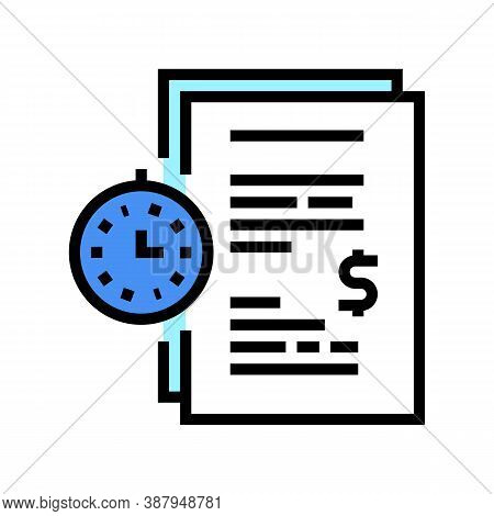 Forfeit For Time Late Agreement Color Icon Vector. Forfeit For Time Late Agreement Sign. Isolated Sy