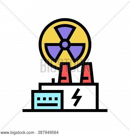 Nuclear Plant Color Icon Vector. Nuclear Plant Sign. Isolated Symbol Illustration