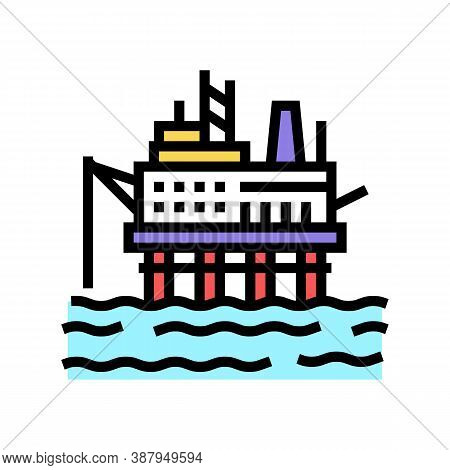 Sea Petrol Rig Color Icon Vector. Sea Petrol Rig Sign. Isolated Symbol Illustration