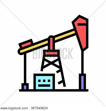 Petrol Derrick Color Icon Vector. Petrol Derrick Sign. Isolated Symbol Illustration