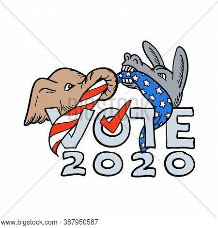 Cartoon Style Illustration Of A Republican Elephant And Democratic Donkey In Tug-o-war With Usa Star