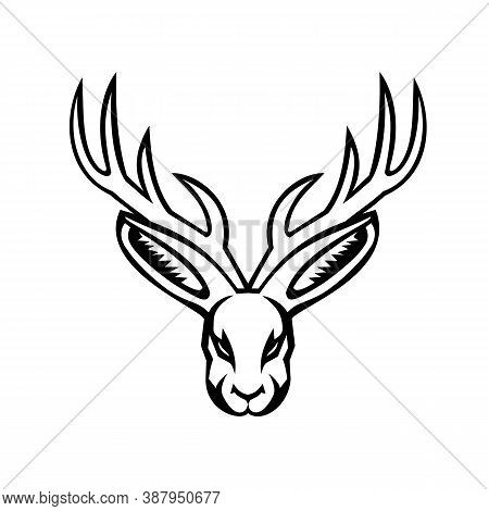 Black And White Mascot Illustration Of Head Of A Jackalope, A Mythical Animal Of North American Folk