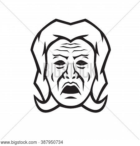 Black And White Mascot Illustration Of Head Of Phobos, God Of Fear,  Terror And Dread And The Person