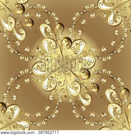 Seamless Golden Pattern. Vector Golden Floral Ornament Brocade Textile And Glass Pattern. Brown, Bei