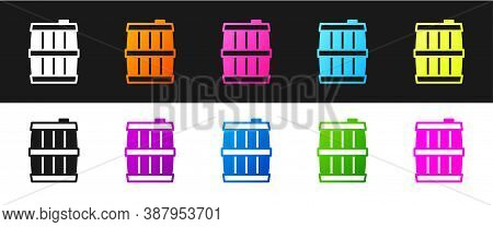 Set Wooden Barrel Icon Isolated On Black And White Background. Alcohol Barrel, Drink Container, Wood