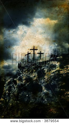 Three Crosses On Golgotha Grunge Background