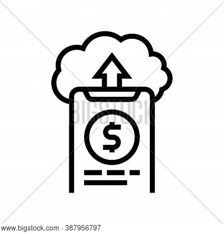 Sending Money Electronic Cloud Line Icon Vector. Sending Money Electronic Cloud Sign. Isolated Conto
