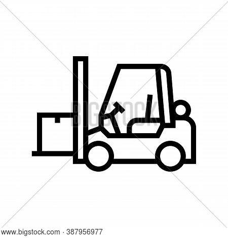 Loader Cart Line Icon Vector. Loader Cart Sign. Isolated Contour Symbol Black Illustration