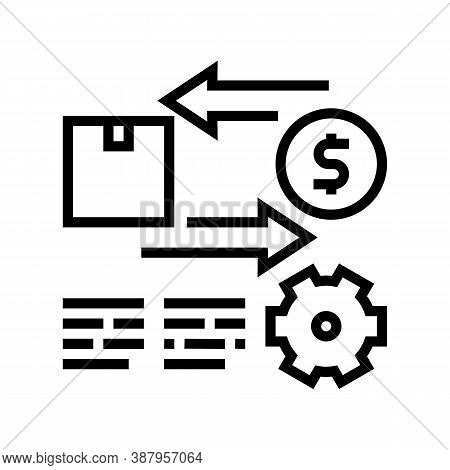 Import And Export Service Cost Line Icon Vector. Import And Export Service Cost Sign. Isolated Conto
