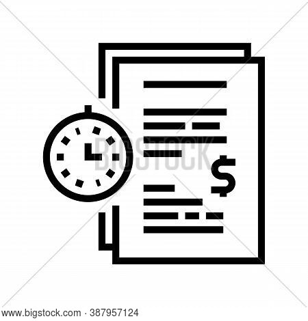 Forfeit For Time Late Agreement Line Icon Vector. Forfeit For Time Late Agreement Sign. Isolated Con
