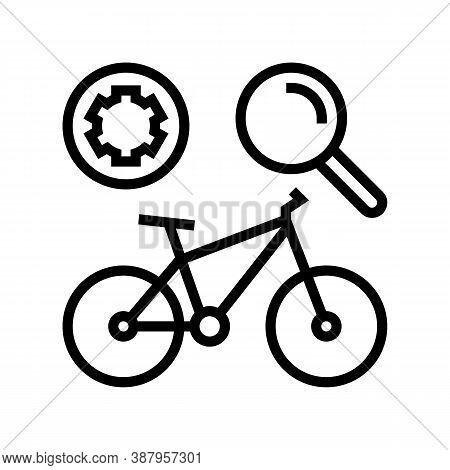 Complex Bike Maintenance Line Icon Vector. Complex Bike Maintenance Sign. Isolated Contour Symbol Bl