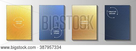 Flat Circle Screen Tone Gradation Cover Page Templates Vector Collection. Urban Flyer Faded Screen T