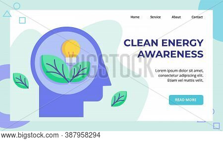 Clean Energy Leaf Light Bulb In Head Campaign For Web Website Home Homepage Landing Page Template Ba