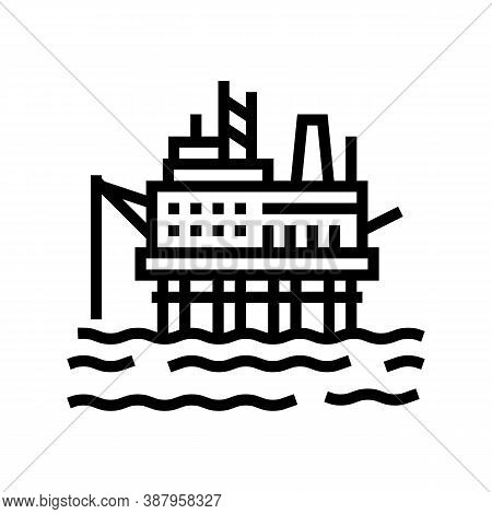 Sea Petrol Rig Line Icon Vector. Sea Petrol Rig Sign. Isolated Contour Symbol Black Illustration