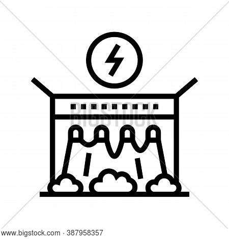 Electrical Dam Line Icon Vector. Electrical Dam Sign. Isolated Contour Symbol Black Illustration