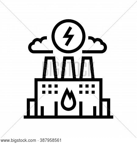 Energy Factory Line Icon Vector. Energy Factory Sign. Isolated Contour Symbol Black Illustration