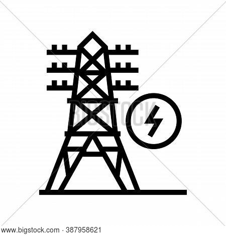 Electrical Tower Line Icon Vector. Electrical Tower Sign. Isolated Contour Symbol Black Illustration