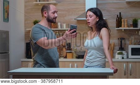 Angry Partner Asking Explanations For Messages. Jealous Man Cheated Angry Frustrated Offended Irrita