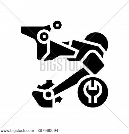Rear Switch Repair Glyph Icon Vector. Rear Switch Repair Sign. Isolated Contour Symbol Black Illustr