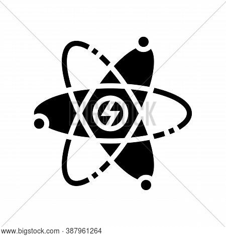 Atom Nuclear Energy Glyph Icon Vector. Atom Nuclear Energy Sign. Isolated Contour Symbol Black Illus