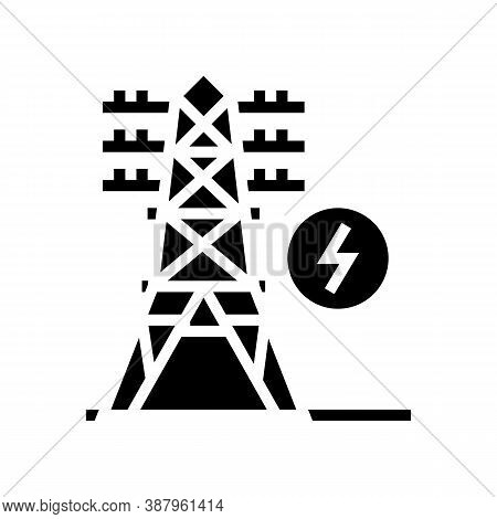 Electrical Tower Glyph Icon Vector. Electrical Tower Sign. Isolated Contour Symbol Black Illustratio