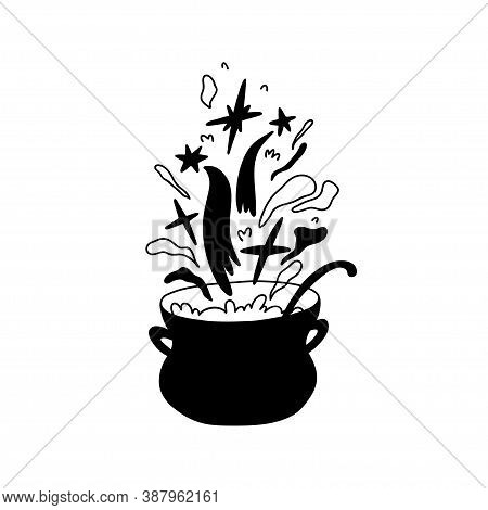 Hand Drawn Cauldron With Boiling Magic Substance. Stars Fly Out Of The Pan, Magic, Steam Rises. Dood