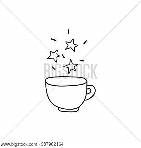 Hand Drawn Magic Drink Cup. Over The Mug Are Stars, Magic, Heavenly. Doodle Mystical Tableware Isola