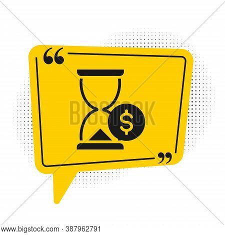 Black Hourglass With Dollar Icon Isolated On White Background. Money Time. Sandglass And Money. Grow