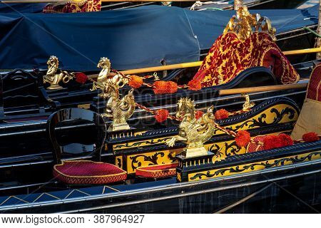 Close Up Of Golden Seahorses Details On A Gondola In Venice, Italy. Beautiful Traditional Gondolas O