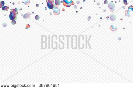Holographic Bubbles Memphis Vector Transparent Background. Retro Holography Layout. Color Abstract E