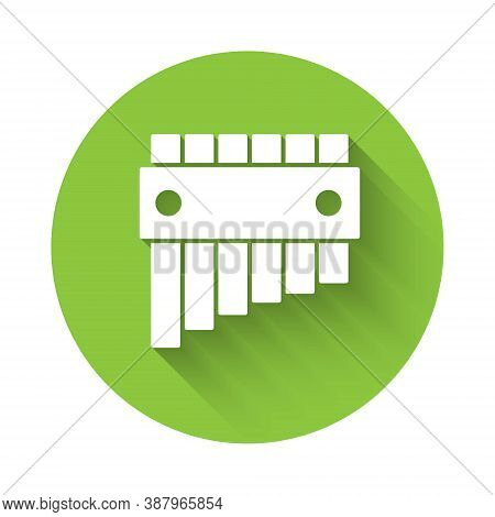 White Pan Flute Icon Isolated With Long Shadow. Traditional Peruvian Musical Instrument. Folk Instru