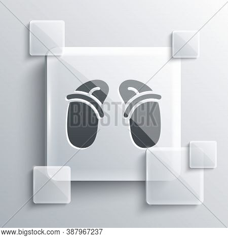 Grey Flip Flops Icon Isolated On Grey Background. Beach Slippers Sign. Square Glass Panels. Vector
