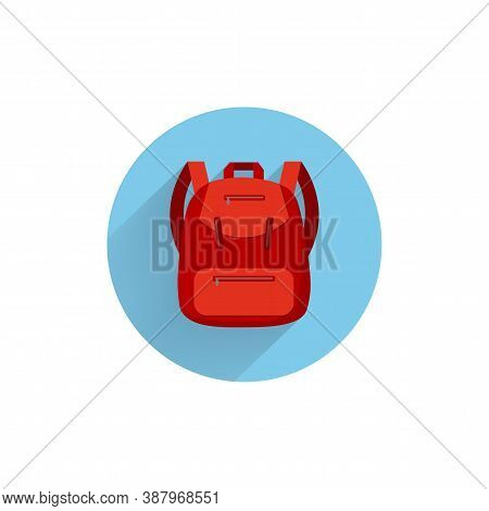 Backpack. Rucksack. Knapsack. Schoolbag. Sack Colorful Flat Icon With Long Shadow. Schoolbag Flat Ic
