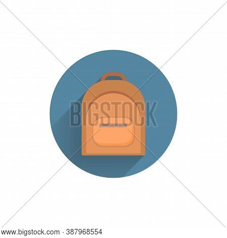 Backpack Flat Icon. Rucksack. Knapsack. Schoolbag. Sack. Colorful Flat Icon With Shadow. School Flat