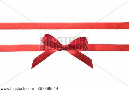 Red Bow Gift Ribbon Straight Horizontal Isolated On White.