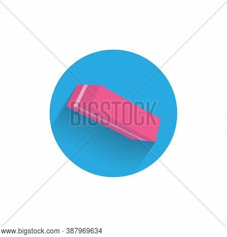 Eraser Colorful Flat Icon With Shadow. Chancery Flat Icon