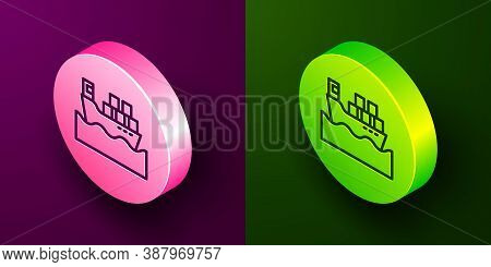 Isometric Line Cargo Ship With Boxes Delivery Service Icon Isolated On Purple And Green Background.