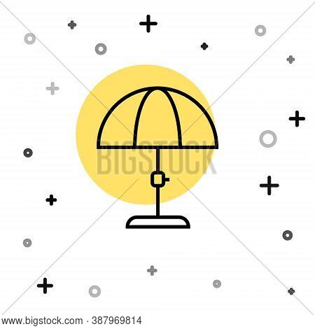 Black Line Sun Protective Umbrella For Beach Icon Isolated On White Background. Large Parasol For Ou