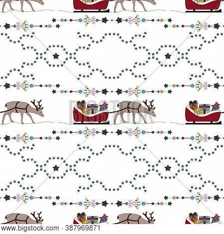 Christmas Seamless Pattern. Reindeer And His Sleigh. Christmas Gifts And Christmas Tree. Transparent