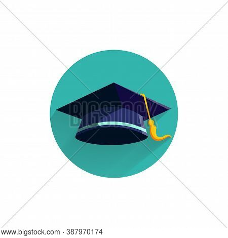 Graduation Cap Colorful Flat Icon With Long Shadow. Graduation Cap Flat Icon