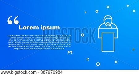 White Line Gives Lecture Icon Isolated On Blue Background. Stand Near Podium. Speak Into Microphone.