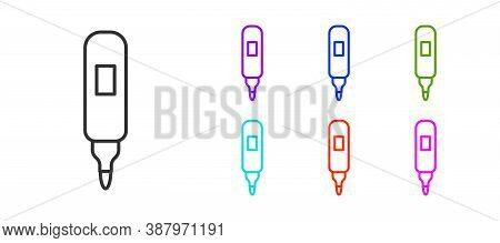Black Line Marker Pen Icon Isolated On White Background. Felt-tip Pen. Set Icons Colorful. Vector